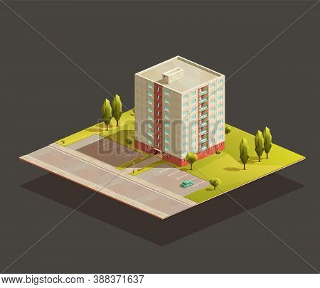 Soviet Tower Block of flats isometric realistic illustration. With road and parking lot