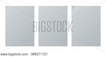 Glued Paper Sheet Set Isolated On White Background. Vector Realistic Crumpled Posters Bundle. Wet Gr