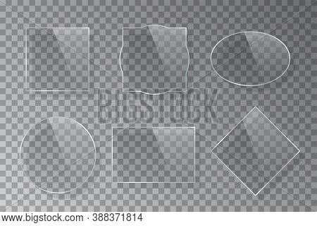 Realistic Three-dimension Curly Figured Glass Frame Set Isolated On Grey Transparent Background. Cre