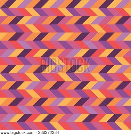 Background Arrows Design. Abstract Seamless Pattern In Red, Orange, Lilac, Violet Colors. Wood Parqu