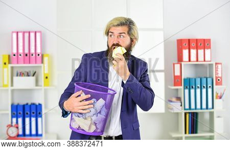 Reuse Of Resources. Office Worker Digging In Garbage. Recover Files After Deletion. Businessman Hold
