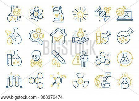 Chemistry Lab Line Icons. Chemical Formula, Microscope And Medical Analysis. Laboratory Test Flask,
