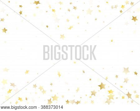 Flying Gold Star Sparkle Vector With White Background. Vintage Gold Gradient Christmas Sparkles Glit