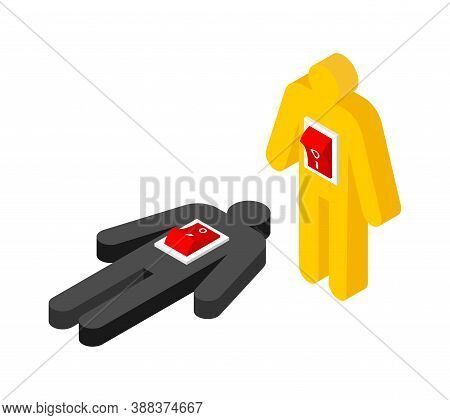 Man And Switch. Switching Off And On Human. Death And Life Concept. Vector Illustration