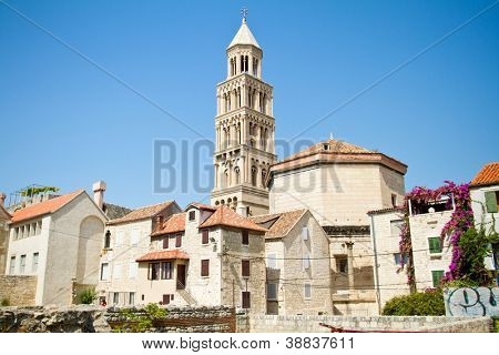 Bell tower of the Saint Domnius Cathedral in Split, Croatia poster