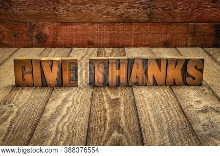 give thanks - word abstract in vintage letterpress wood type against rustic barn wood background, Thanksgiving concept
