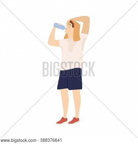 Sportsman Drinking Water From Bottle Feeling Thirst After Training Vector Flat Illustration. Man Wit