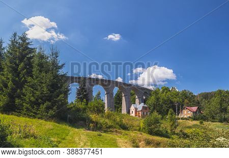 Smrzovka, Czech Republic - 08 07 2020: Stone Railway Viaduct In Smrzovka, Summer Day With Blue Sky,