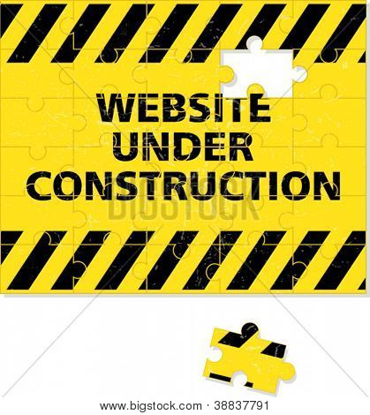 Website under construction conceptual background made of puzzle pieces