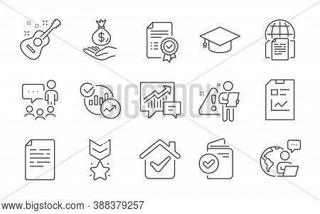Internet Documents, Graduation Cap And Certificate Line Icons Set. Income Money, Statistics And Docu