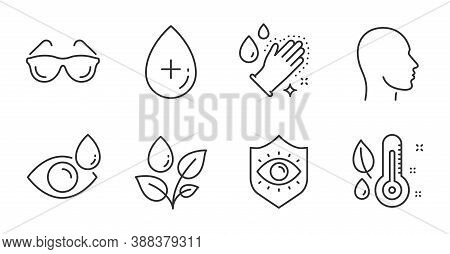 Oil Serum, Eyeglasses And Thermometer Line Icons Set. Eye Drops, Eye Protection And Washing Hands Si