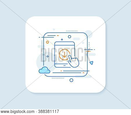 Scroll Down Tablet Pc Line Icon. Abstract Square Vector Button. Scrolling Screen Sign. Swipe Page. S