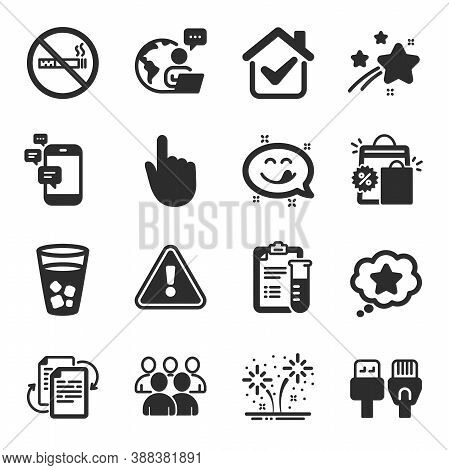 Set Of Business Icons, Such As Computer Cables, Group, Shopping Bags Symbols. Medical Analyzes, Fire