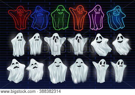 Set White Transparent And Neon Ghost Vector Illustration. Ghosts Isolated On Dark Background. The Co