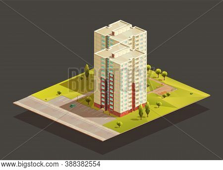 Post-soviet twins tower Block of flats isometric realistic illustration. Polygonal vector building