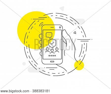 Security Agency Line Icon. Mobile Phone Vector Button. Body Guard Sign. Private Protection Symbol. S
