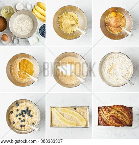 Banana Bread. Collage, Step By Step Recipe. Cake With Banana And Blueberries.