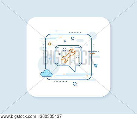 Spanner Tool Line Icon. Abstract Square Vector Button. Repair Service Chat Sign. Fix Instruments Sym