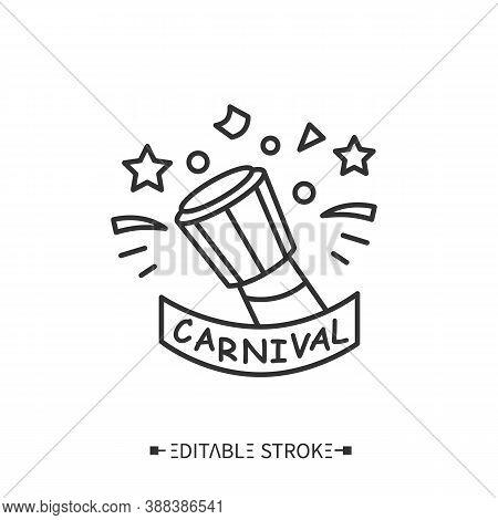Carnival Drum Line Icon. Djembe Drum, Brazilian Samba Batucada Drum.carnival Music. Annual Samba Fes