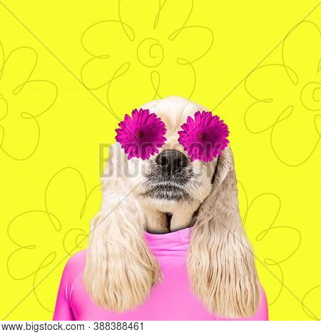 In Love. Modern Design. Contemporary Art Collage With Cute Dog And Trendy Colored Background With Ge