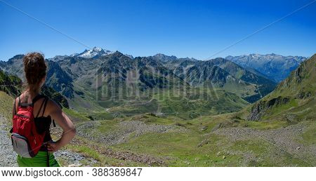 A Young Woman Looking Col Du Tourmalet In The French Pyrenees