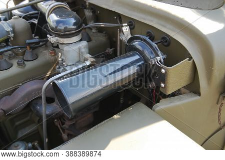 A Close Up Of Engine Of Military Vehicle
