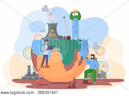 Harmful Effects Of Human Activity On The Planet Earth. Air Pollution, Deforestation, Drainage Of Soi