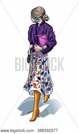 Fashion Girl Sketch, Vector Illustration Stylish Woman In Modern Dress And Jacket Of Purple Color, S