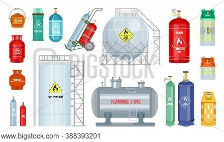 Vector Gas Cylinder Set Icon. Cylindrical Container With Liquefied Compressed Gases With High Pressu
