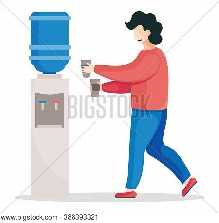 Vector Flat Illustration Of Office Worker Walking To Water Dispenser For Putting Hot Water For Coffe