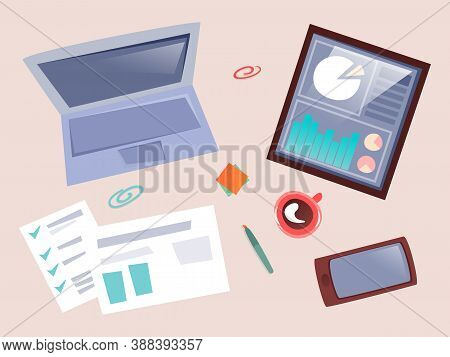 Topview Of Business Workplace Instruments Laptop, Tablet With Diagram And Graphs, Reports And Docume