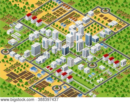 Urban Plan Pattern Map. Isometric Landscape Structure Of City Buildings