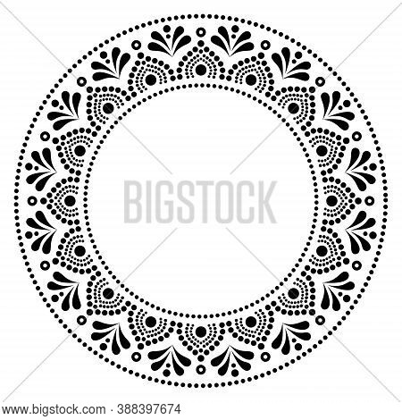 Mandala Australian Dot Paiting Style-  Monochrome Vector Design, Aboriginal Traditional Decorative P