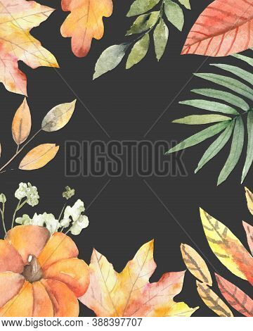 Autumn Season Party Festival Invite Poster Banner Watercolor Style Card Design Border Frame: Colorfu