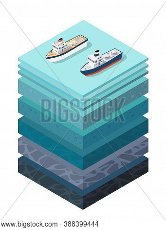 Soil Layers Cross Section Geological Sea Surface Ship