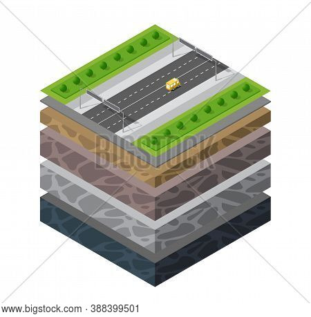 Soil Layers Cross Section Geological Transport Auto Traffic Jam