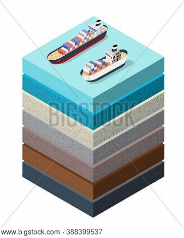 Soil Layers Sea Surface Ship Cross Section Geological And Underground
