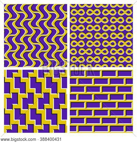 Set Of Yellow Purple Optical Illusion Seamless Patterns Of Moving Wavy Quadrangles, Infinity Symbols
