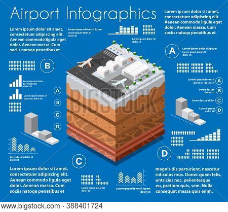 Infographics Airport Geological And Underground Layers Of Soil Under The Isometric