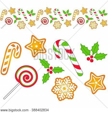 Seamless Border With Candy Cane, Lollipop, Gingerbread, Mistletoe And Christmas Holly Berries. Vecto