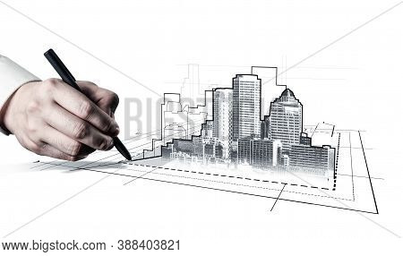 City Civil Planning And Real Estate Development - Architect People Looking At Abstract City Sketch D