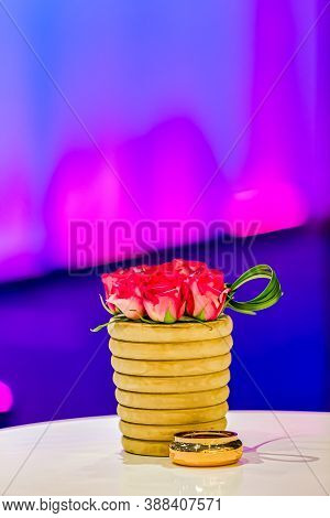 Flower Table Arrangement At Corporate Party Event