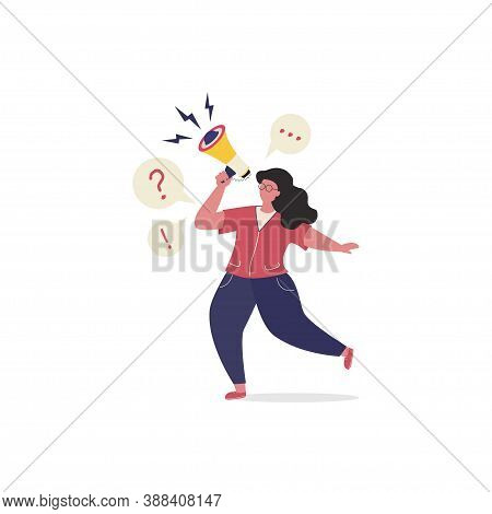 Woman Shouting To Megaphone Or Loudspeaker. Online Public Relations And Affairs Concept. Announcemen