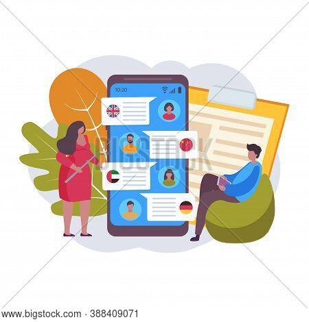 Foreign Language Learning Course Concept. Distance Online Education Concept Logo. Internet Class, E