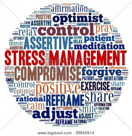 Stress Management in word collage