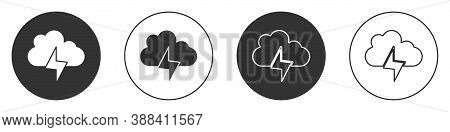 Black Storm Icon Isolated On White Background. Cloud And Lightning Sign. Weather Icon Of Storm. Circ