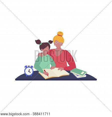 Vector Illustration Of Parents Helping Their Children With Their Homework. Home Schooling During Qua