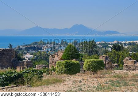 View Of The Gulf And The Ruins Of Carthage From Byrsa Hill In Tunisia, North Africa. Mandraki Artifi