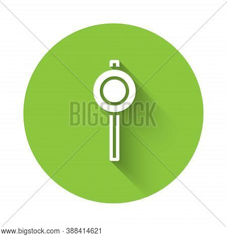 White Road Traffic Sign. Signpost Icon Isolated With Long Shadow. Pointer Symbol. Street Information