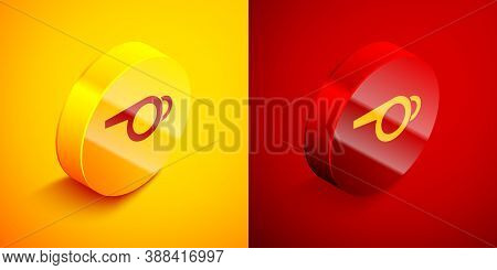Isometric Whistle Icon Isolated On Orange And Red Background. Referee Symbol. Fitness And Sport Sign